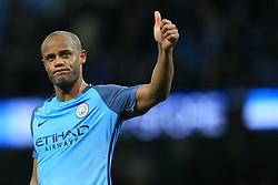 27th April 2017 - Premier League - Manchester City v Manchester United - Vincent Kompany of Man City gives the thumbs up - Photo: Simon Stacpoole / Offside.