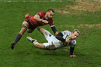 Rugby Union - 2020 / 2021 Gallagher Premiership - Gloucester vs Northampton Saints - Kingsholm<br /> <br /> Northampton Saints' Rory Hutchinson is tackled by Gloucester's Lewis Ludlow.<br /> <br /> COLORSPORT/ASHLEY WESTERN
