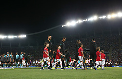 August 8, 2017 - Skopje, Macedonia - The Real Madrid team walk out onto the pitch before the UEFA Super Cup match between Real Madrid and Manchester United at National Arena Filip II Macedonian on August 8, 2017 in Skopje, Macedonia. (Credit Image: © Raddad Jebarah/NurPhoto via ZUMA Press)
