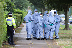 © Licensed to London News Pictures. 05/08/2019. London, UK. Crime scene investigators carries out the search on Waltheof Gardens in Tottenham, north London following a death of a woman in no 46 Waltheof Gardens. Police were called around 10:45 am on 4 August 2019 where the body of an 89-year-old woman was found. According to the police one or more suspects gained entry to the woman's house between Saturday (3 August) evening and Sunday (4 August) morning. Photo credit: Dinendra Haria/LNP