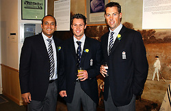 Left to right, England cricketers MARK BUTCHER, GERAINT JONES and MARCUS TRESCOTHICK at the Natwest Summer of Cricket Auction Dinner in aid of Marie Curie Cancer Care held in The Long Room, Lord's Cricket Ground, London on 8th July 2004.