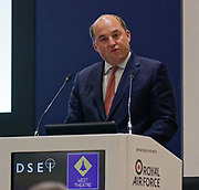 London, United Kingdom - 11 September 2019<br /> The Rt Hon Ben Wallace MP. Secretary of State for Defence for the UK Government presents keynote address speech to audience at DSEI 2019 security, defence and arms fair at ExCeL London exhibition centre.<br /> (photo by: EQUINOXFEATURES.COM)<br /> Picture Data:<br /> Photographer: Equinox Features<br /> Copyright: ©2019 Equinox Licensing Ltd. +443700 780000<br /> Contact: Equinox Features<br /> Date Taken: 20190911<br /> Time Taken: 12382399<br /> www.newspics.com