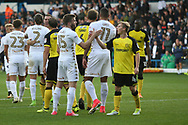 Leeds United's Stuart Dallas (15) and Burton Albion's Jamie Allen (4) shake hands after the game during the EFL Sky Bet Championship match between Leeds United and Burton Albion at Elland Road, Leeds, England on 9 September 2017. Photo by John Potts.