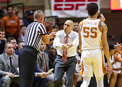 Feb 9, 2019; Morgantown, WV, USA; Texas Longhorns head coach Shaka Smart argues a call during the first half against the West Virginia Mountaineers at WVU Coliseum. Mandatory Credit: Ben Queen-USA TODAY Sports