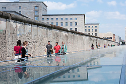 New exhibition center with Berlin Wall  at Topographie des Terrors the site of former Gestapo police headquarters in Berlin Germany