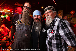 Jon Barwood, Jack Schit and Mailman at the Cycle Source party at the Iron Horse Saloon during the 78th annual Sturgis Motorcycle Rally. Sturgis, SD. USA. Wednesday August 8, 2018. Photography ©2018 Michael Lichter.