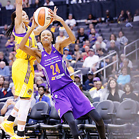 18 May 2014: Phoenix Mercury guard/forward DeWanna Bonner (24) drives to the basket past Los Angeles Sparks guard/forward Armintie Herrington (22) during the Phoenix Mercury 74-69 victory over the Los Angeles Sparks, at the Staples Center, Los Angeles, California, USA.
