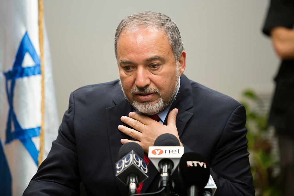 Israel's Foreign Minister and leader of Yisrael Beytenu party Avigdor Lieberman, speaks during Yisrael Beytenu faction meeting at the Knesset, Israel's parliament in Jerusalem, on October 27, 2014.
