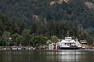 The Skeena Queen docked at the BC Ferry terminal at Fulford Harbour on Salt Spring Island, British Columbia, Canada. This ferry runs between Fulford Harbour and Swartz Bay on Vancouver Island (near Victoria). Reginald Hill is in the background behind the ferry.