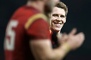 Liam Williams of Wales is all smiles after the match.RBS Six Nations 2017 international rugby, Wales v Ireland at the Principality Stadium in Cardiff , South Wales on Friday 10th March 2017.  pic by Andrew Orchard, Andrew Orchard sports photography