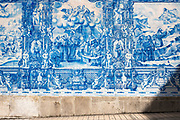 Azulejos Portuguese blue and white wall tiles of Capela das Almas de Santa Catarina  - St Catherine's Chapel in Porto, Portugal