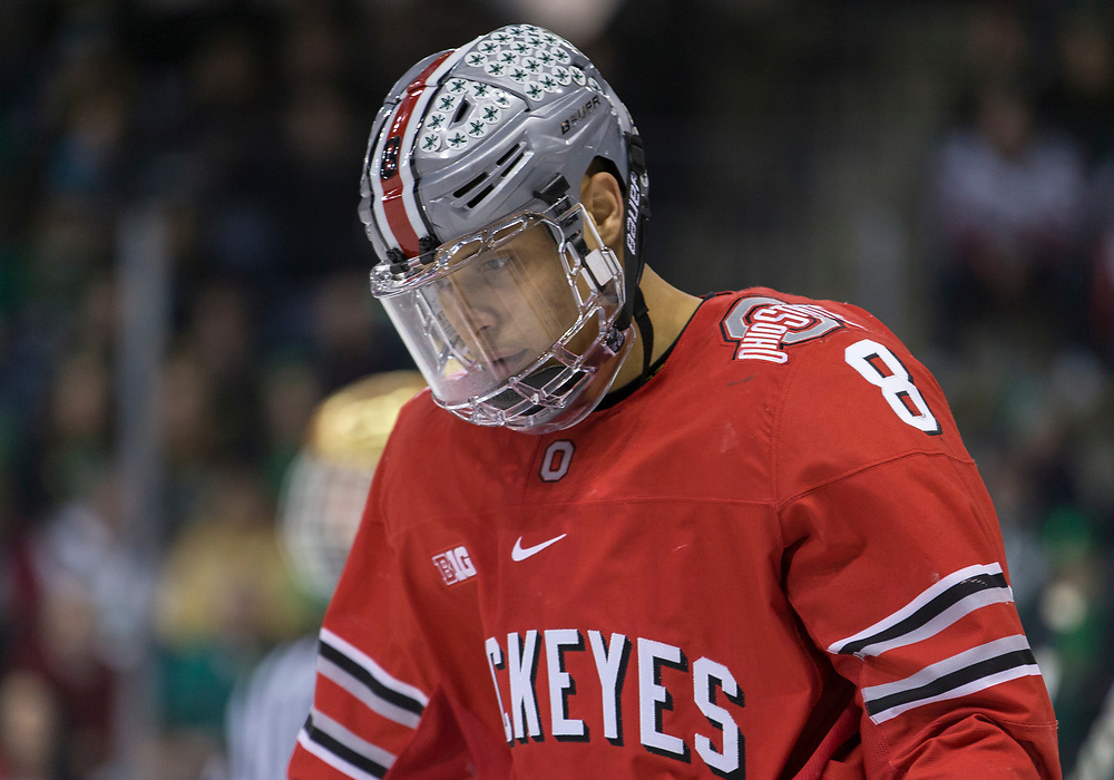 March 17, 2018:  Ohio State forward Dakota Joshua (8) during NCAA Hockey game action between the Notre Dame Fighting Irish and the Ohio State Buckeyes at Compton Family Ice Arena in South Bend, Indiana.  Notre Dame defeated Ohio State 3-2 in overtime.  John Mersits/CSM