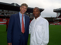 Sylvian Wiltord, Arsenal's new signing, with Manager Arsene Wenger . Arsenal v Charlton Athletic, 26/8/00. Credit: Colorsport / Andrew Cowie.