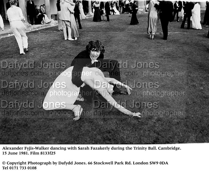 Alexander Fyjis-Walker dancing with Sarah Fazakerly during the Trinity Ball. Cambridge. 15 June 1981. Film 8133f25<br />