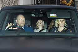 © Licensed to London News Pictures. 18/12/2019. London, UK.MIKE TINDALL daughter MIA TINDALL and ZARA PHILIPS. Members of the Royal Family seen leaving Buckingham Palace in West London after attending the Queen's annual Christmas lunch. Photo credit: Ben Cawthra/LNP