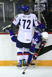Andrej Kollar of Slovakia and Anze Kopitar of Slovenia at ice-hockey game Slovenia vs Slovakia at second game in  Relegation  Round (group G) of IIHF WC 2008 in Halifax, on May 10, 2008 in Metro Center, Halifax, Nova Scotia, Canada. Slovakia won after penalty shots 4:3.  (Photo by Vid Ponikvar / Sportal Images)