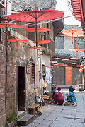 View of old houses along a street in an old Chinese town, Fenghuang, Hunan Province, China