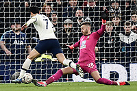 Football - 2019 / 2020 Emirates FA Cup - Fourth Round, Replay: Tottenham Hotspur vs. Southampton<br /> <br /> Tottenham Hotspur's Son Heung-Min is fouled by Southampton's Angus Gunn leading to his successful penalty, at The Tottenham Hotspur Stadium.<br /> <br /> COLORSPORT/ASHLEY WESTERN