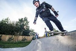 Tony Lawrence, skateboarding cop at North Edinburgh Skatepark.