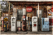 ROUTE 66-ARIZONA- Old gas pumps are displayed at the Hackberry General Store along Route 66 in Arizona. Photo by Colin E Braley