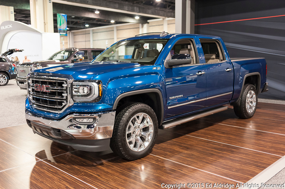 CHARLOTTE, NC, USA - November 11, 2015: GMC Sierra on display during the 2015 Charlotte International Auto Show at the Charlotte Convention Center in downtown Charlotte.