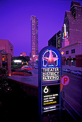 Theater District in Houston, Texas with downtown skyline.