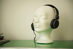 Close-up of mannequin wearing headphone, Munich, Bavaria, Germany