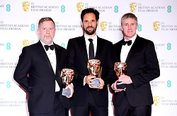 Greg Butler, Guillaume Rocheron and Dominic Tuohy with their award for Best Special Visual Effects in the press room at the 73rd British Academy Film Awards held at the Royal Albert Hall, London.