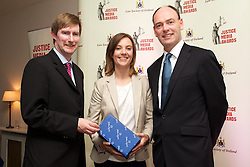 The Law Society of Ireland annual Justice Media Awards 2012..THURSDAY 7th JUNE 2012 ..The Law Society of Ireland has today (Thursday, 7th June, 2012) announced the winners of its annual Justice Media Awards 2012. ..These awards, which are 20 years in existence, focus on published works or broadcasts that have helped to inform and educate Irish citizens on the role of law in society. The aim is to give national recognition to published works or broadcasts that: ..1).Promote the highest standards in legal journalism;.2).Foster greater public understanding of the law, the legal system or any specific legal issue;.3).Inform and educate citizens as to the roles in society of the law, the courts, law enforcement agencies and the legal profession;.4).Disclose practices or procedures needing reform so as to encourage the development and modernisation of Irish laws, courts and law enforcement agencies; and/or.5).Assist the legal profession, the judiciary, and all others involved in the administration of justice in attaining the highest professional standards. ..The Law Society wholeheartedly congratulates all of today?s winners of ?Justice Media Awards? and ?Certificates of Merit?. .Pictured at the awards.JUSTICE MEDIA AWARD - ?LOCAL RADIO?..The winner of the Justice Media Award in the ?Local Radio? category is Louise Byrne of 98FM News for her report: ?21st century rule - Ireland?s new Criminal Courts of Justice?.. ..Pictured at the awards.Ken Murphy, Director General of the Law Society of Ireland..Louise Byrne of 98FM News winner of the Justice Media Award in the ?Local Radio? category.President of Law Society of Ireland, Donald Binchy....What the judges said: .?This was a highly innovative report on the Criminal Courts of Justice in Dublin. This new courts complex marked the beginning of its second year in operation in November 2011. Already, its hi-tech courtrooms have played host to some of Ireland?s most high-profile trials. The reporter in this series of radio reports