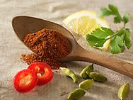 Fresh & ground chillies with cardomom seeds, lemon & coriander. Indian spices.