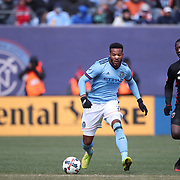 NEW YORK, NEW YORK - March 12:  Ethan White #3 of New York City FC challenged by Patrick Nyarko #12 of D.C. United during the NYCFC Vs D.C. United regular season MLS game at Yankee Stadium on March 12, 2017 in New York City. (Photo by Tim Clayton/Corbis via Getty Images)