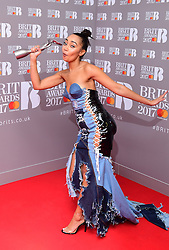 Little Mix's Perrie Edwards Leigh-Anne Pinnock with the award for Best Single in the press room during the Brit Awards at the O2 Arena, London.
