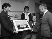 Tory Island Painters Exhibition.1985..05.03.1985..03.05.1985.5th March 1985..At Bord na Gaeilge Headquarters,Dublin an exhibition of painting was held to celebrate the work of Tory Island Painters. In attendance was the Minister for Finance Mr Alan Dukes T.D...Image of Mr Michael Grae, Chief Executive, Bord Na Gaeilge as he speaks with three Tory Island Painters (L-R) Mr Michael Finbar Mac Ruairi, Mr Ruairi L Mac Ruairi and Mr Patsy Dan Mac Ruaidhri at the exhibition.