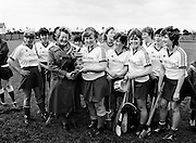 The National League camogie final was contested between Cork and Dublin at Lorcan O'Toole Park, Kimmage, Dublin. Here Muireann McCarthy, captain of the victorious Cork team, receives the cup from Mrs Mary Lynch, President of the Camogie Association.<br /> 18 May 1986