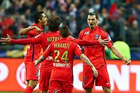 joie Zlatan Ibrahimovic (PSG) / Marquinhos (PSG) et equipe