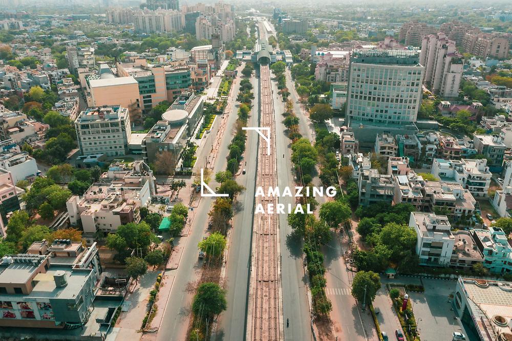 Aerial view of an empty highway in Gurugram near New Delhi in Haryana state during lockdown. india.