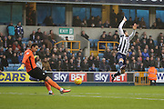 Millwall striker Lee Gregory (9) trying to chase down a clearnace from Bristol Rovers goalkeeper Kelle Roos (33) during the EFL Sky Bet League 1 match between Millwall and Bristol Rovers at The Den, London, England on 12 November 2016. Photo by Matthew Redman.