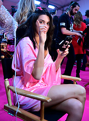 Kendall Jenner backstage at the Victoria's Secret fashion show held at The Grand Palais, Paris, France.