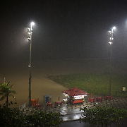 A beachside kiosk on Ipanema beach during a storm, Rio de Janeiro,  Brazil. 13th July 2010. Photo Tim Clayton..