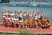 Eton Dorney, Windsor, Great Britain,..2012 London Olympic Regatta, Dorney Lake. Eton Rowing Centre, Berkshire[ Rowing]...Description;   USA W8+ Gold Medalist. .Erin CAFARO (b) , Zsuzsanna FRANCIA (2) , Esther LOFGREN (3) , Taylor RITZEL (4) , Meghan MUSNICKI (5) , Eleanor LOGAN (6) , Caroline LIND (7) , Caryn DAVIES (s) , Mary WHIPPLE (c)..Silver Medalist CAN W8+.  Janine HANSON (b) , Rachelle VIINBERG (2) , Krista GULOIEN (3) , Lauren WILKINSON (4) , Natalie MASTRACCI (5) , Ashley BRZOZOWICZ (6) , Darcy MARQUARDT (7) , Andreanne MORIN (s) , Lesley THOMPSON - WILLIE (c).Bronze Medalist NED W8+. Jacobine VEENHOVEN (b) , Nienke KINGMA (2) , Chantal ACHTERBERG (3) , Sytske DE GROOT (4) , Roline REPELAER VAN DRIEL (5) , Claudia BELDERBOS (6) , Carline BOUW (7) , Annemiek de HAAN (s) , Anne SCHELLEKENS (c)..Dorney Lake. 13:14:33  Thursday  02/08/2012.  [Mandatory Credit: Peter Spurrier/Intersport Images]...Venue, Rowing, 2012 London Olympic Regatta...