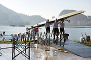 "Rio de Janeiro. BRAZIL.  USA W8+, coming of the water, at the  2016 Olympic Rowing Regatta. Lagoa Stadium,<br /> Copacabana,  ""Olympic Summer Games""<br /> Rodrigo de Freitas Lagoon, Lagoa.   Saturday 13/08/2016 <br /> <br /> [Mandatory Credit; Peter SPURRIER/Intersport Images]"