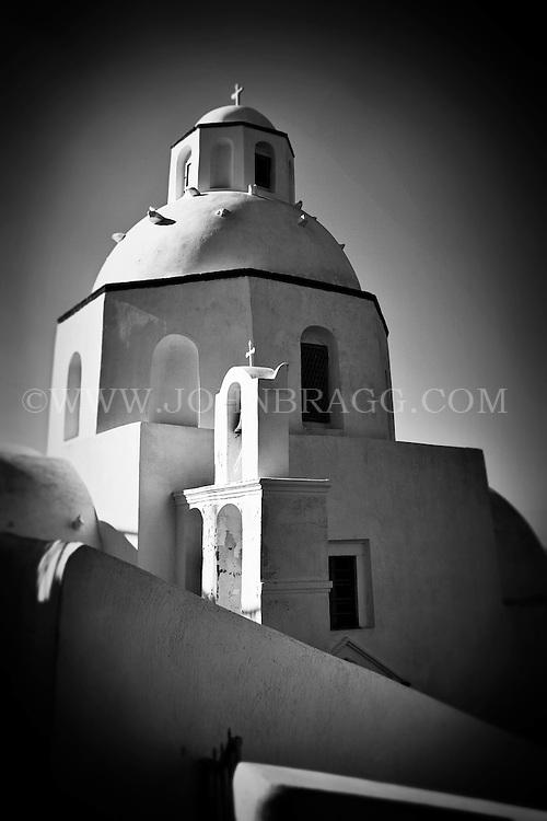 Black and White Photo of a church in Santorini, Greece.