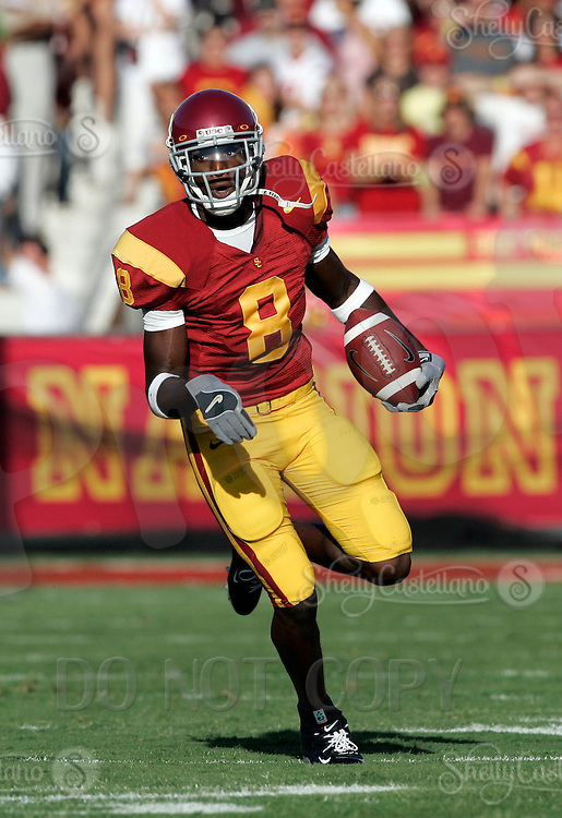 16 September 2006: #8 Dwayne Jarrett runs with the football during USC Trojans college football home opener against the Nebraska Cornhuskers with a 28-10 win over the Big-12 team at the Los Angeles Memorial Coliseum in CA.  Jarrett was game VIP catching 11 passes for 136 yards.
