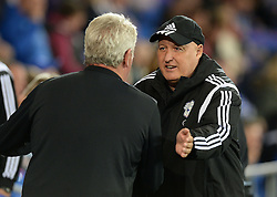 Cardiff City's Manager, Russell Slade and Hull City Manager, Steve Bruce- Mandatory byline: Alex James/JMP - 07966386802 - 15/09/2015 - FOOTBALL - Cardiff City Stadium -Cardiff,Wales - Cardiff City v Hull City - Sky Bet Championship