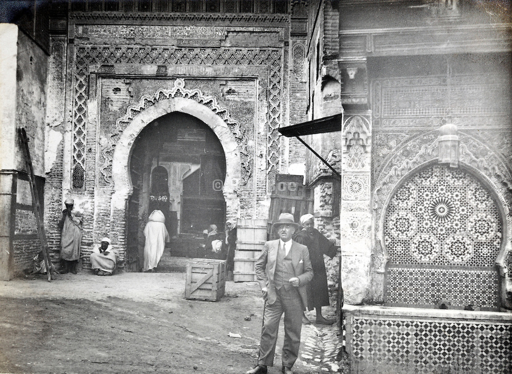 western person posing Morocco early 1900s