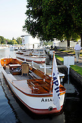 Henley, Great Britain.  Henley Royal Regatta. General View, GV, Umpires Launch, Ariadne, moored before the start of racing. River Thames,  Henley Reach.  Royal Regatta. River Thames Henley Reach. Sunday  08:30:17  03/07/2011  [Mandatory Credit/Intersport Images] . HRR