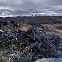 Canada, Ontario, Sudbury, Barren landscape downwind from NICO Nickel Mine and Smelter