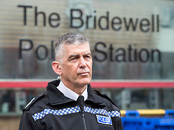 """© Licensed to London News Pictures;22/03/2021; Bristol, UK. Avon & Somerset Chief Constable ANDY MARSH talks to the media outside Bridewell Police Station the morning after a """"Kill the Bill"""" protest against the Police, Crime, Sentencing and Courts Bill when a police car and a police van wer set on fire as police clashed with protesters. The Police, Crime, Sentencing and Courts Bill proposes new restrictions on protests. Photo credit: Simon Chapman/LNP."""