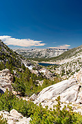 The view along the John Muir Trail - Heart Lake from Selden Pass; John Muir Wilderness, Sierra National Forest, Sierra Nevada Mountains, California, USA.