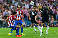 Atletico de Madrid's Stefan Savic and Bayern Munich's Arjen Roben during the match of Group stage of Champions League Atletico de Madrid and Bayern Munich at Vicente Calderon Stadium in Madrid. September 28, 2016. (ALTERPHOTOS/Rodrigo Jimenez)
